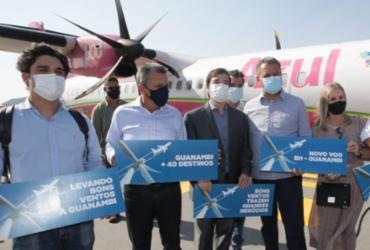 Governador acompanha chegada do voo inaugural da Azul em Guanambi |