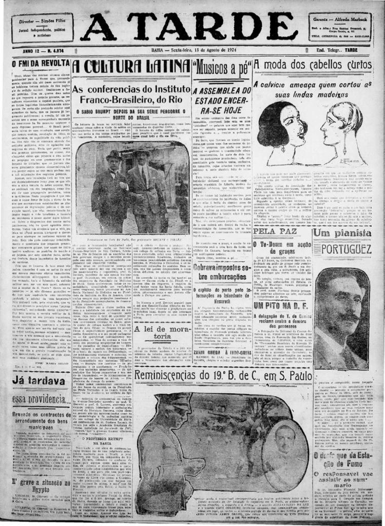 Capa da edição de 15 de agosto 1924 || 15.8.1924