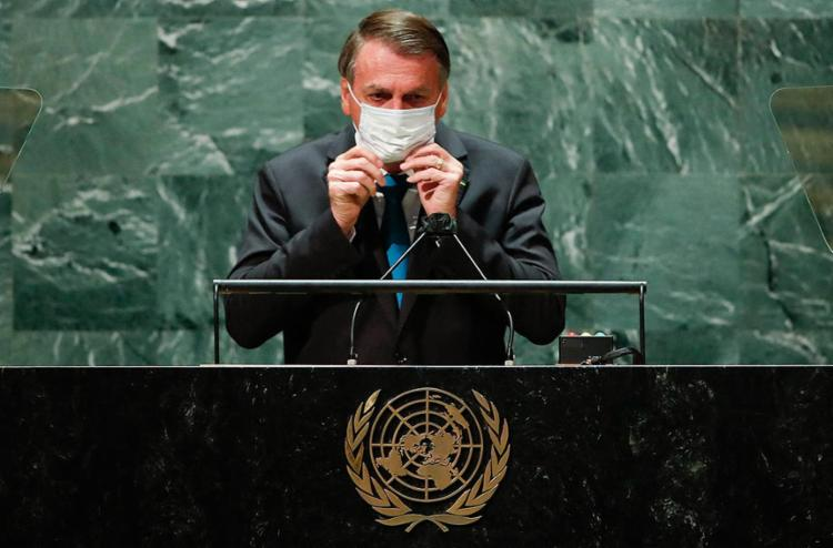 O presidente Bolsonaro durante discurso na 76ª Assembleia Geral da ONU, em Nova York | Foto: Eduardo Munoz | Ag. A TARDE - Foto: Eduardo Munoz | Ag. A TARDE