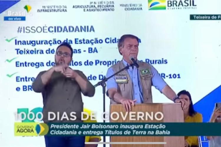 Bolsonaro discursou no município baiano, um dos 4 onde obteve vitória no segundo turno presidencial em 2018   Foto: Reprodução/Youtube - Foto: Reprodução: Youtube