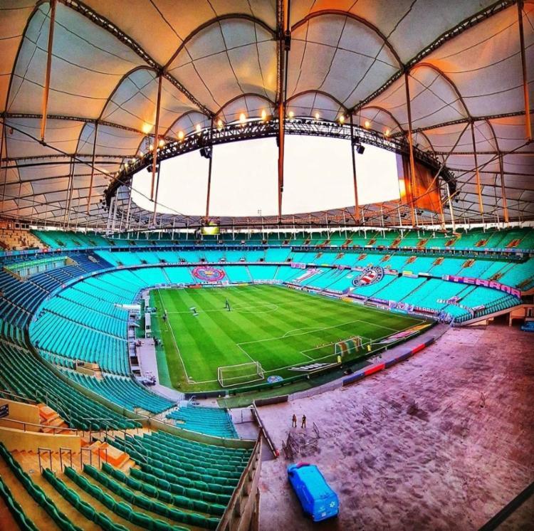 O estádio serviu como hospital de campanha e voltará a ser usado pelo Tricolor já para o duelo contra o RB Bragantino | Foto: Divulgação | EC Bahia - Foto: Divulgação | EC Bahia