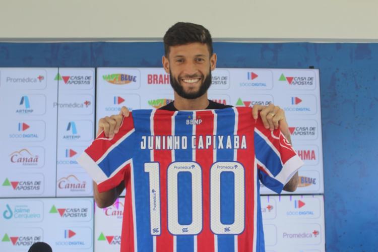 Contra o Fluminense, Capixaba completou a marca de 100 jogos com a camisa tricolor   Foto: Felipe Oliveira   EC Bahia