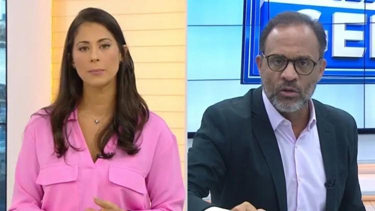 A antiga apresentadora da Record ficou incomodada quando o repórter Marcelo Castro se impôs e conseguiu fazer perguntas à delegada no lugar da repórter da afiliada da Rede Globo I Foto: Reprodução - Foto: Reprodução