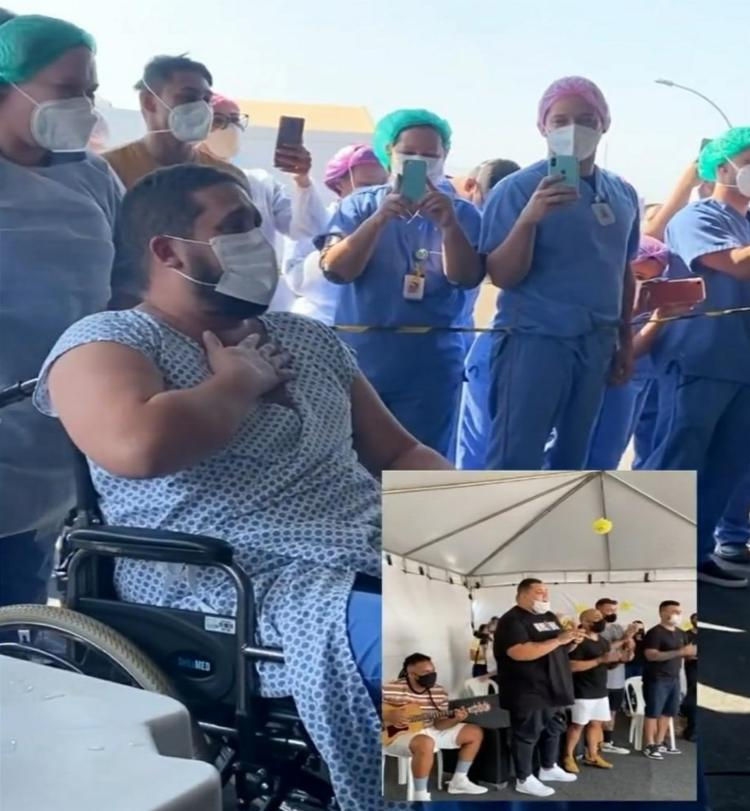 Grupo de pagode fez a surpresa para fã que ficou intubado 18 dias devido a complicações causadas pela Covid-19 - Foto: Divulgação
