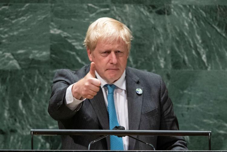 O primeiro-minsitro do Reino Unido, Boris Johnson, em discurso na Assembleia Geral das Nações Unidas | Foto: AFP - Foto: AFP