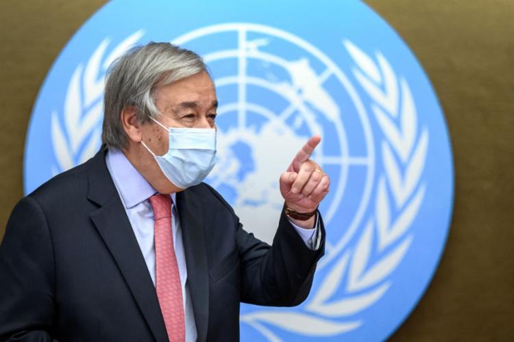 O secretário-geral da ONU, Antonio Guterres, em coletiva de imprensa sobre o Afeganistão, em Genebra | Foto: AFP/Fabrice COFFRINI - Foto: AFP/Fabrice COFFRINI