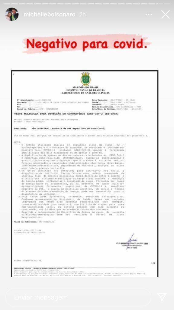 Primeira dama fez o teste no Hospital Naval de Brasília | Foto: Divulgação/ Instagram