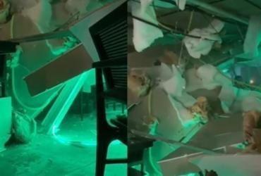 Teto de restaurante na Barra desaba devido às chuvas em Salvador | Reprodução