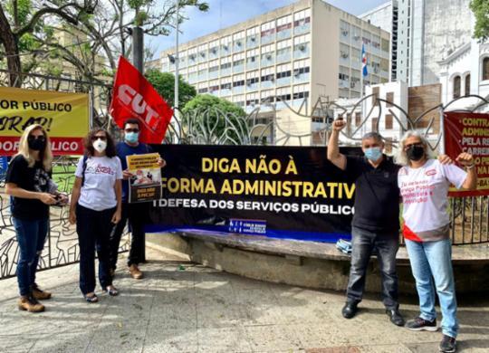 Servidores públicos realizam ato contra a reforma administrativa na Praça da Piedade | Divulgação | SINDJUFE-BA